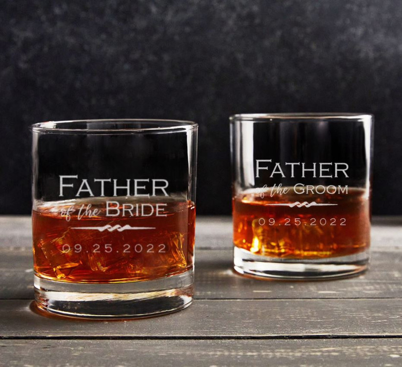 Father of the Bride and Father of the Groom engraved rocks glasses