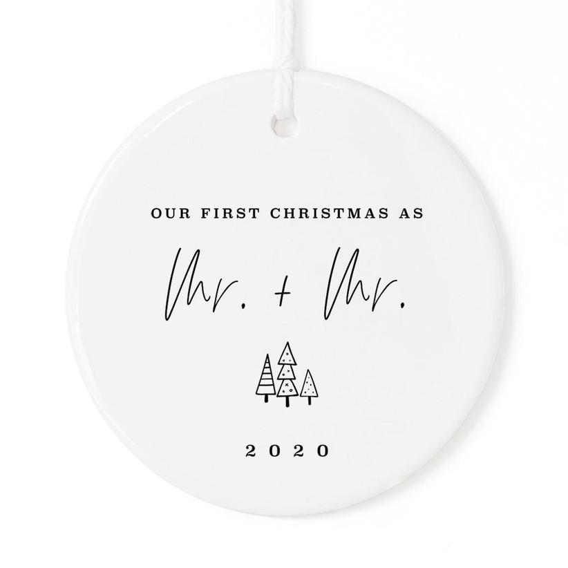 same-sex mr. & mr. wedding christmas ornament