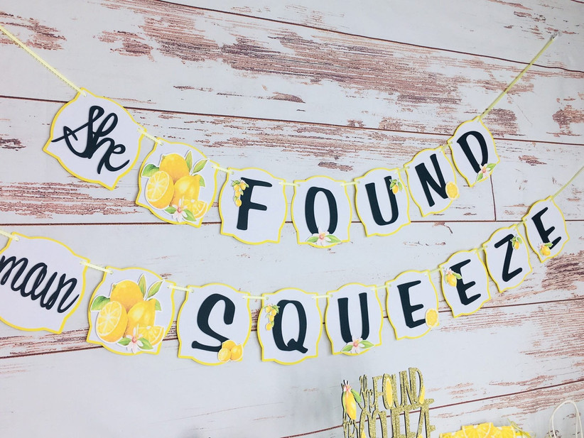 She Found Her Main Squeeze lemon-themed bridal shower banner