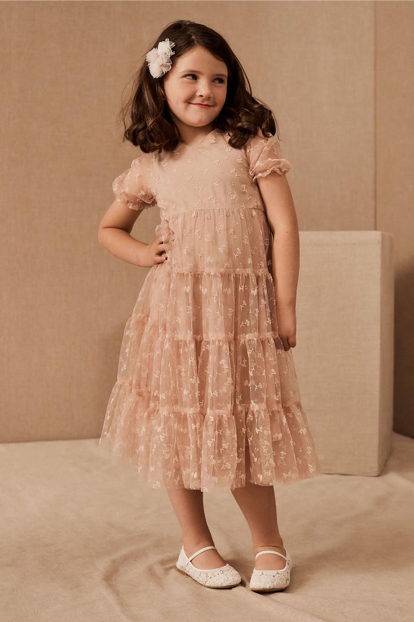 lace blush flower girl dress
