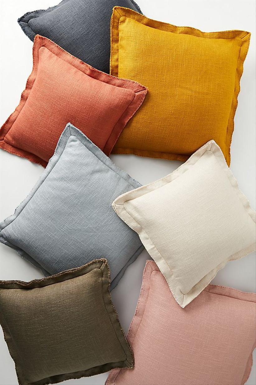 colorful linen throw pillows