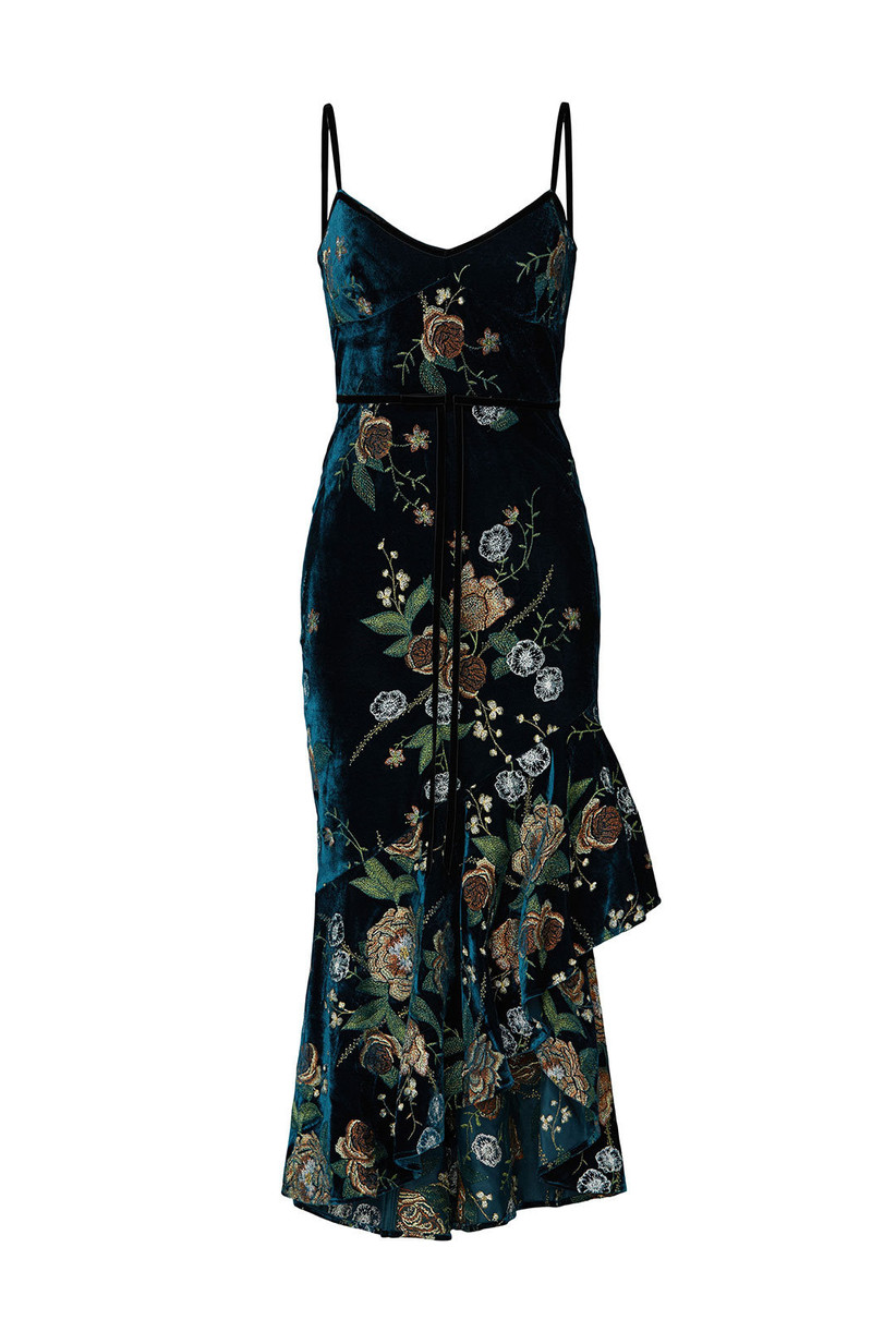dark teal velvet engagement party dress with jewel tone botanical embroidery