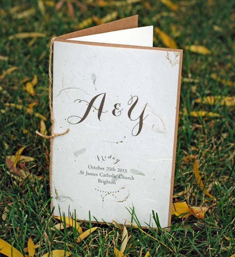 booklet wedding ceremony program made from recycled paper