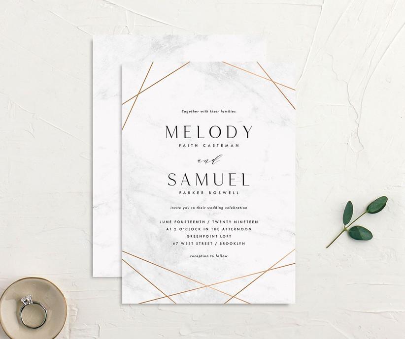 Geometric detail affordable wedding invitation