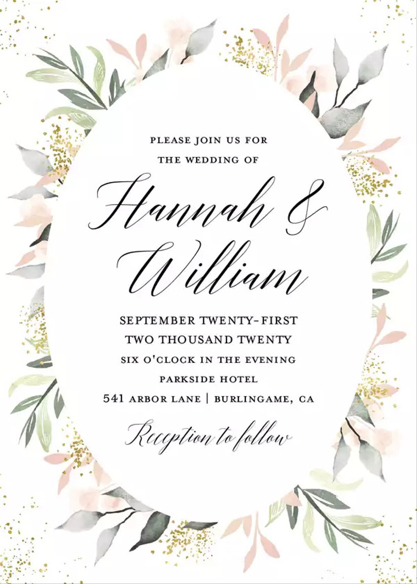 romantic summer wedding invitation with floral blush and greenery border and calligraphy text