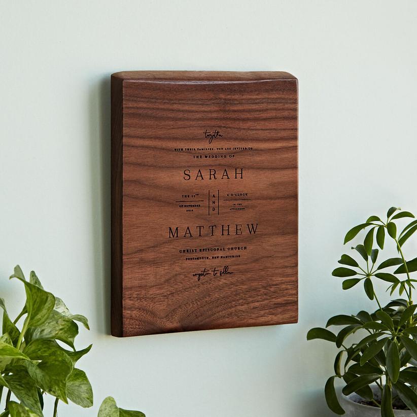 Wooden replica of couple's wedding invitation custom wedding gift