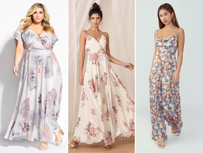 Collage of three models from left to right: Plus size model wearing muted pastel bridesmaid dress; Model wearing white and pink floral maxi dress; Model wearing orange, blue, and white floral jumpsuit with cowl neckline