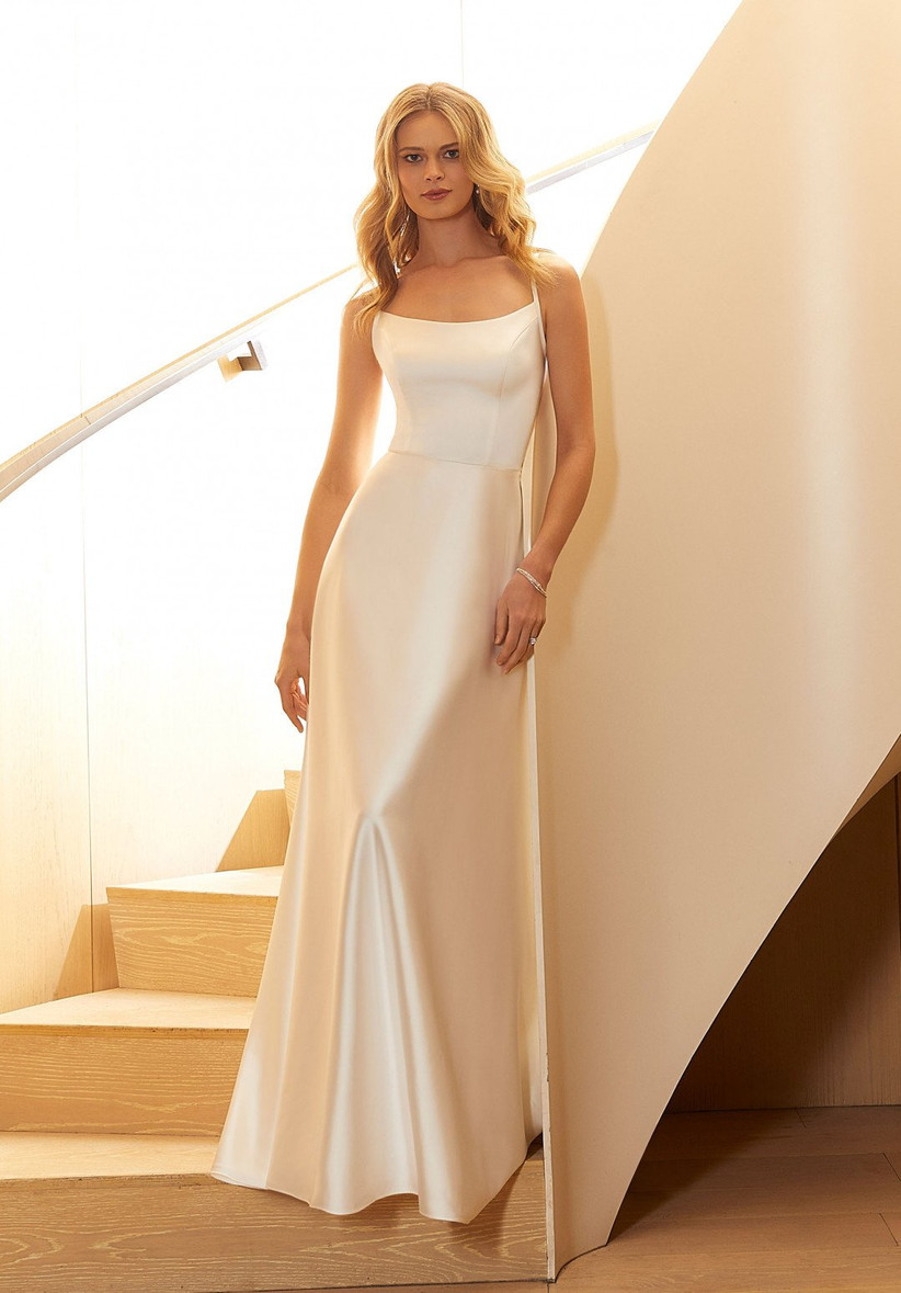 fitted wedding dress satin slip silhouette with spaghetti straps