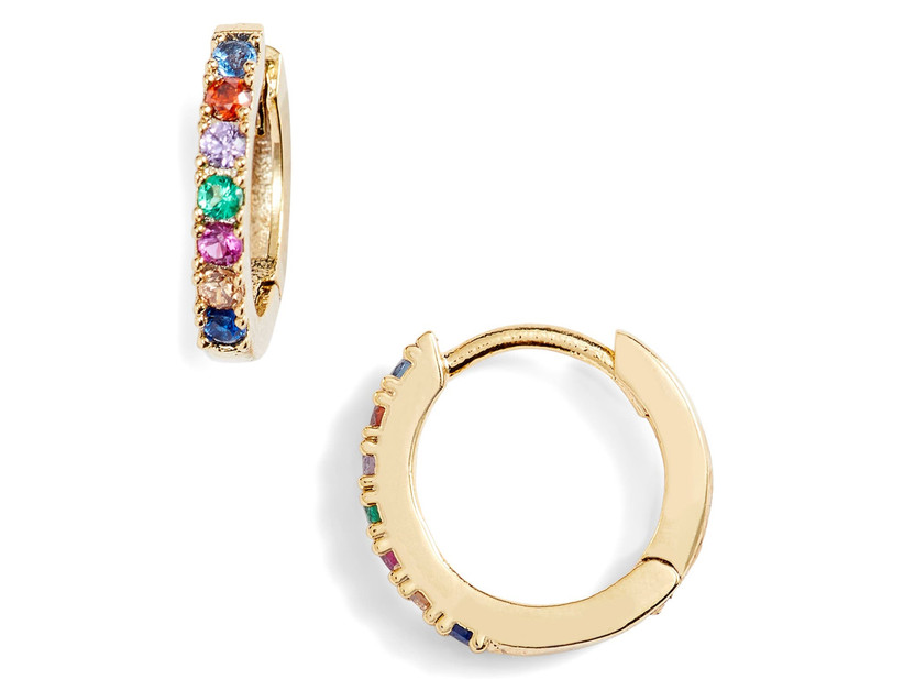 Gold-plated huggie hoop bridesmaid earrings with rainbow crystals