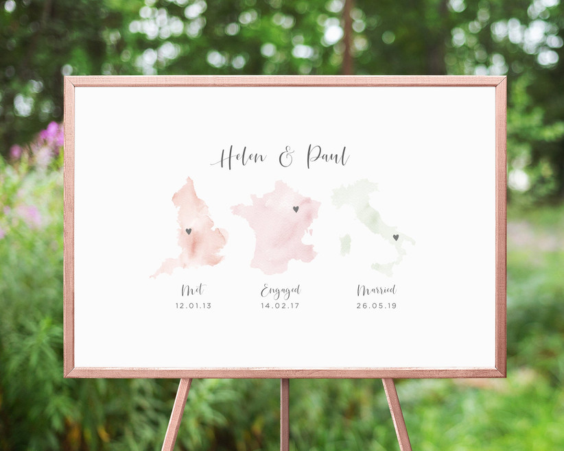 Custom Met, Married, Engaged map poster for guests to sign at wedding
