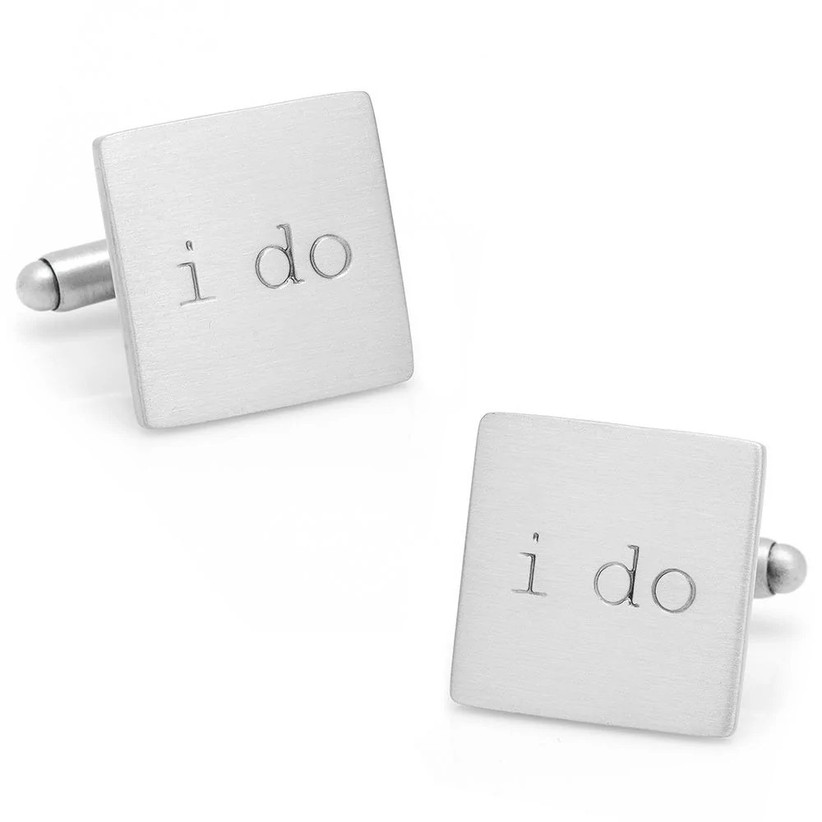 Square silver-toned wedding cuff links engraved with I Do