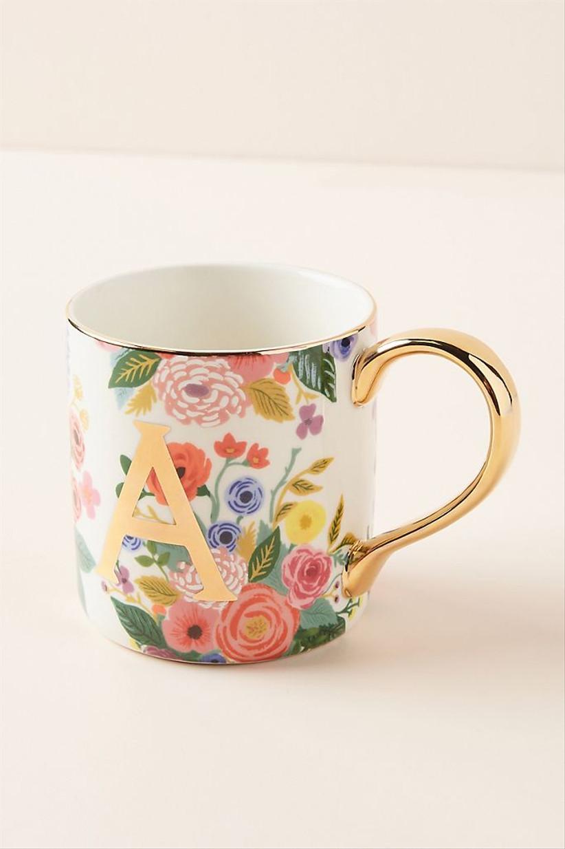 floral monogram mug