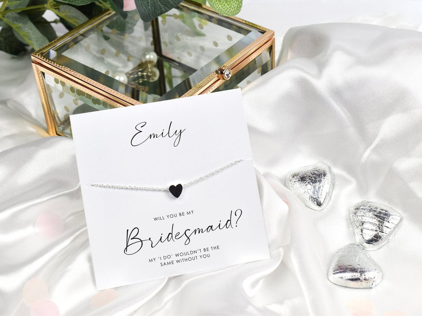 Will You Be My Bridesmaid necklace proposal box idea