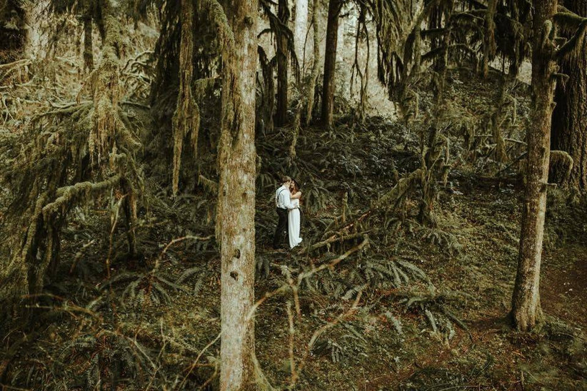 bride and groom stand in the middle of the forest surrounded by trees and moss