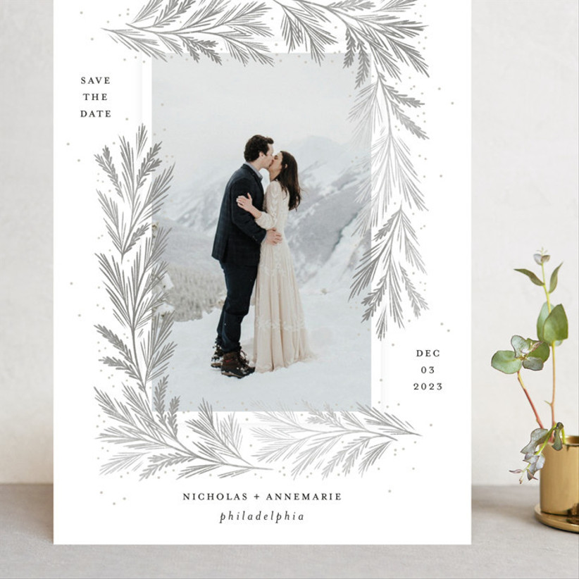pine needle save the dates