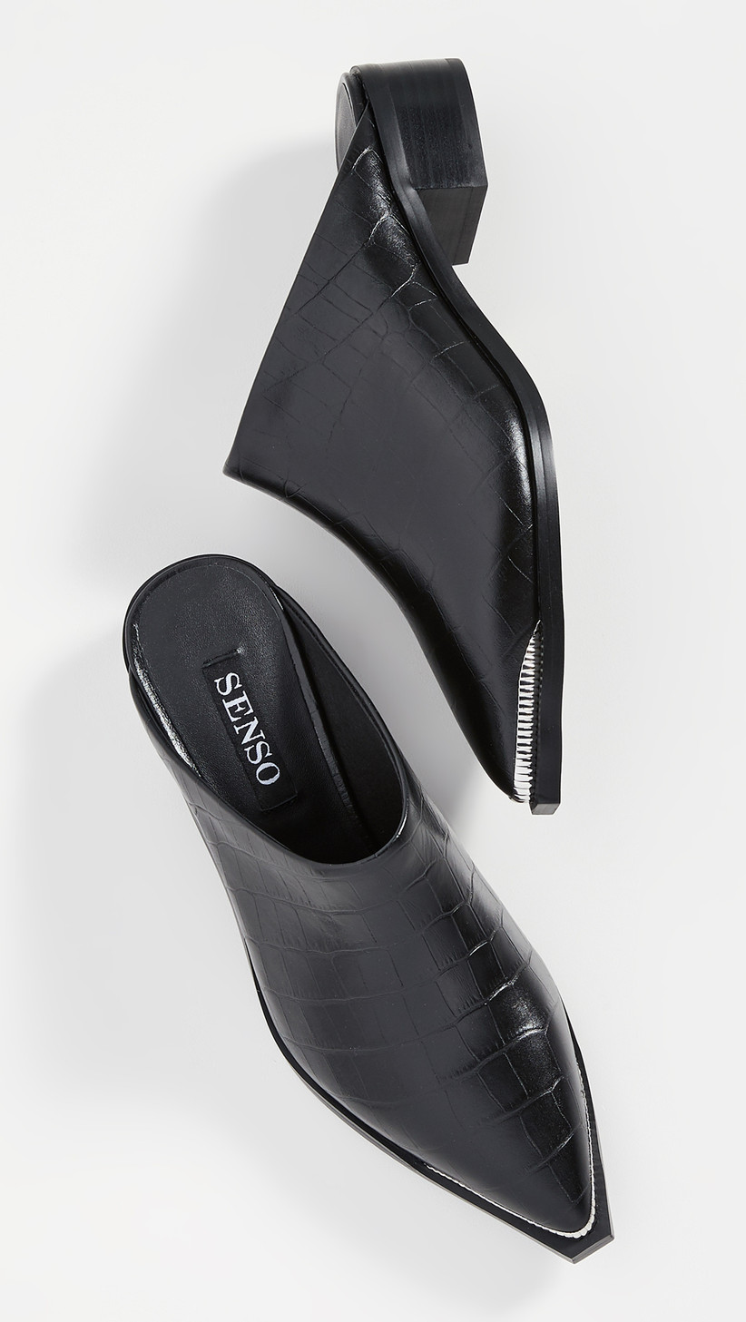 Wedding Guest Shoes black leather mules