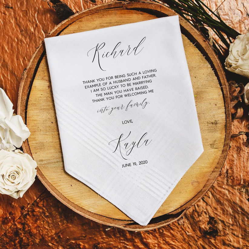 Hankie with sentimental message to father of the groom from bride