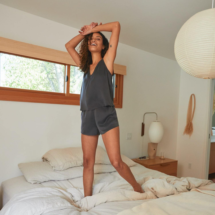 Gray silk tank top and pajama short set mother of the groom gift