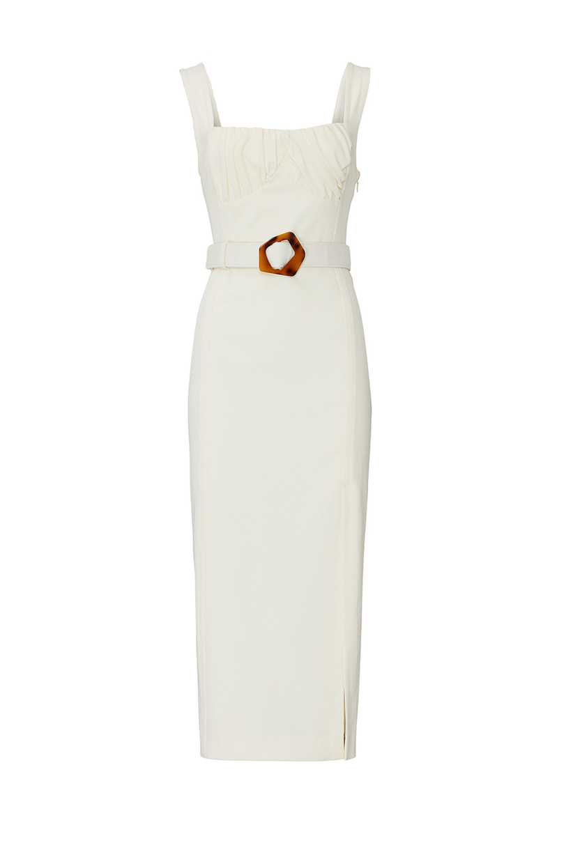 structured white column engagement party dress with thick straps square neckline and tortoiseshell belt