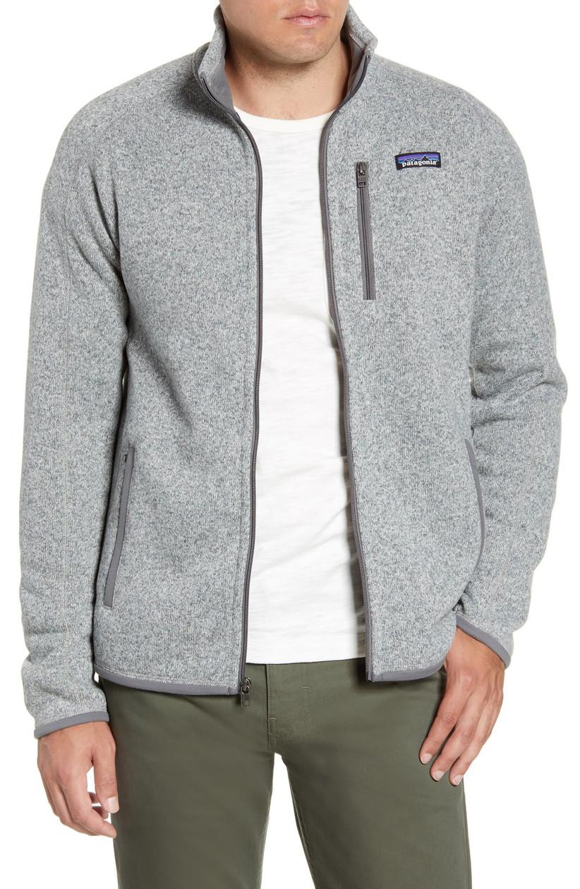 Man wearing snug gray sweater jacket in gray