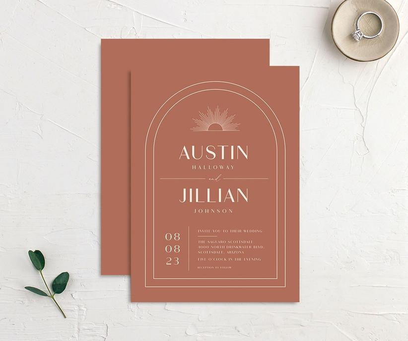 Art Deco accent affordable wedding invitation