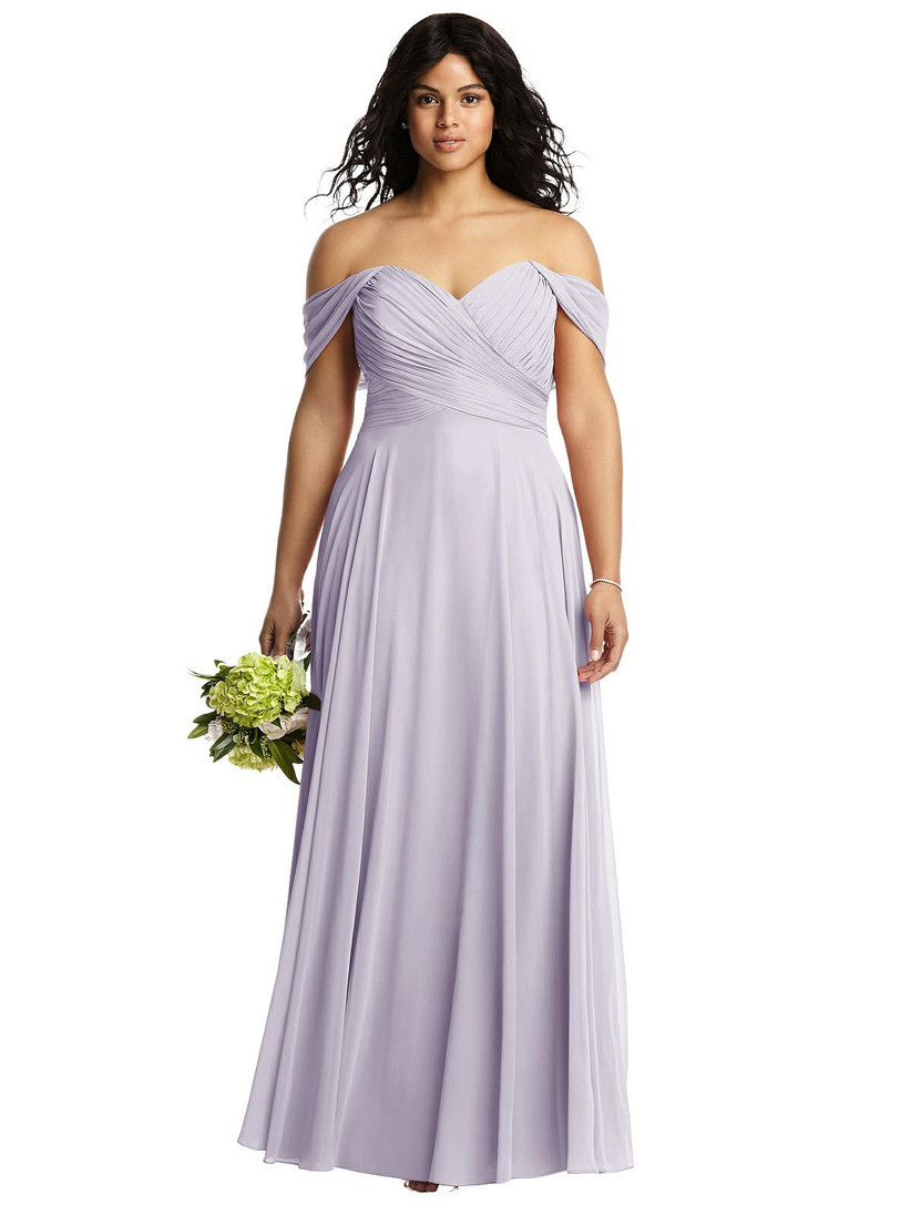 Model wearing off-the-shoulder lavender bridesmaid dress with chiffon skirt