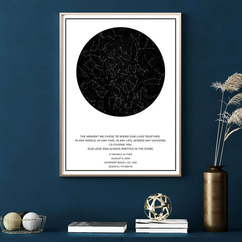 Map of the night sky personalized with couple's wedding date and location