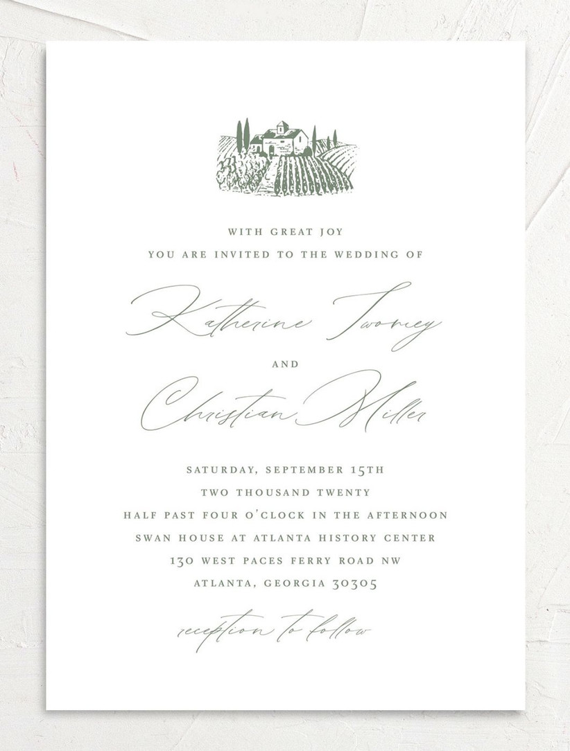 vineyard fall wedding invitations with venue illustration and olive green calligraphy against white background