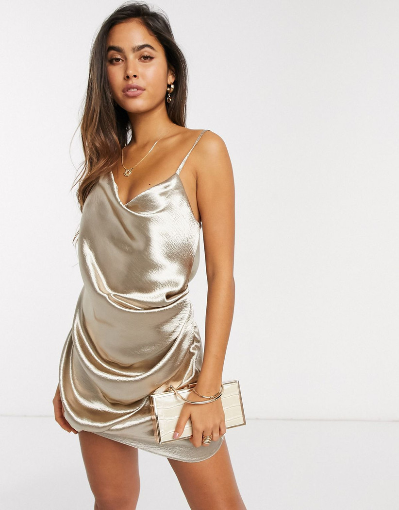 metallic gold bachelorette party dress miniskirt with cowl neckline and spaghetti straps