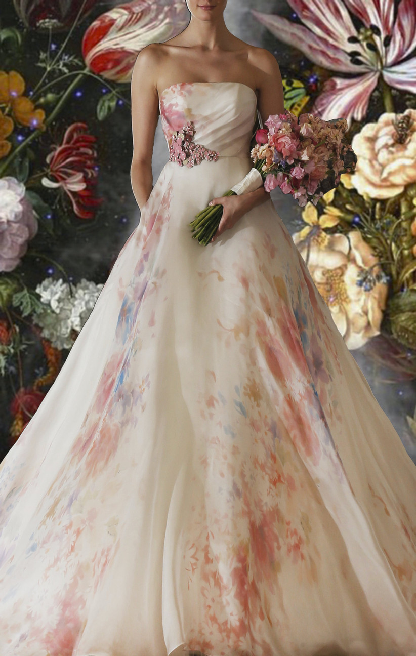 organza ball gown with abstract floral print skirt