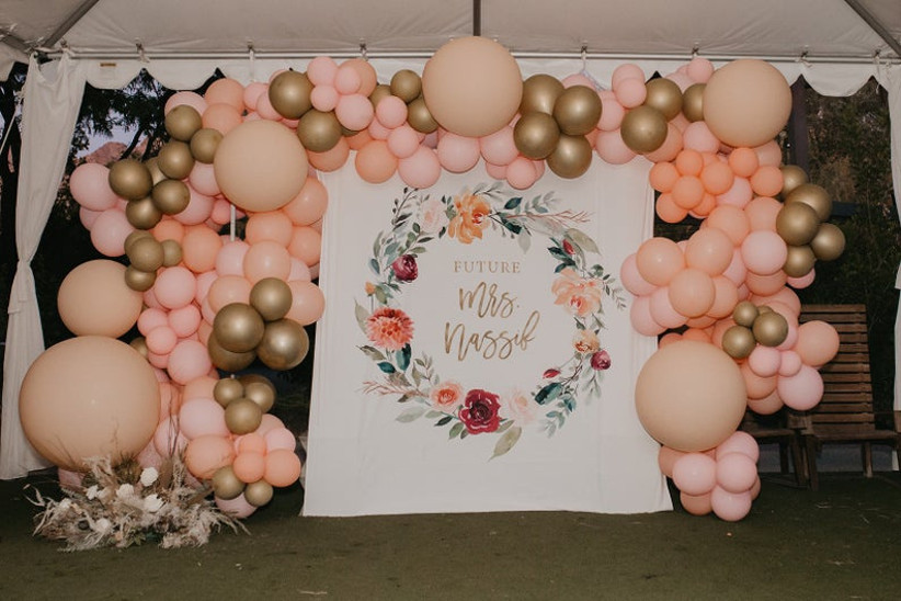 floral bridal shower floral backdrop