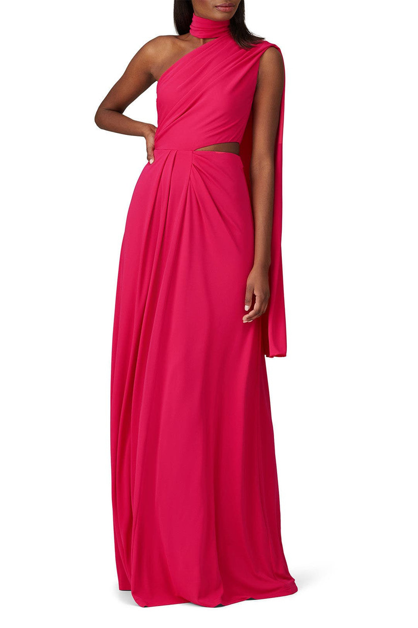 Dramatic formal magenta dress to wear to a fall wedding as a guest