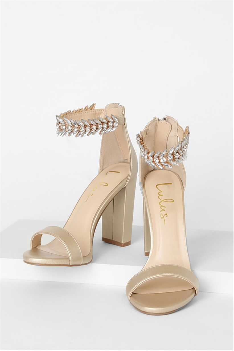 gold wedding shoes with block heel and beaded ankle straps