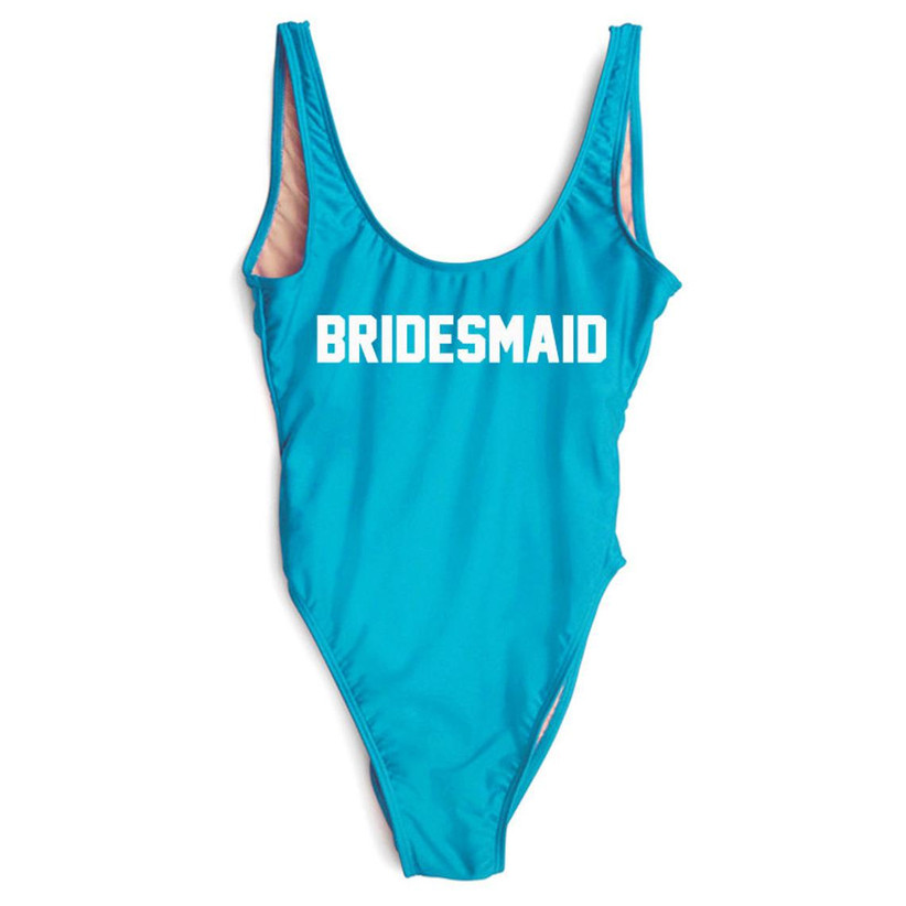 turquoise one-piece bachelorette party swimsuit with