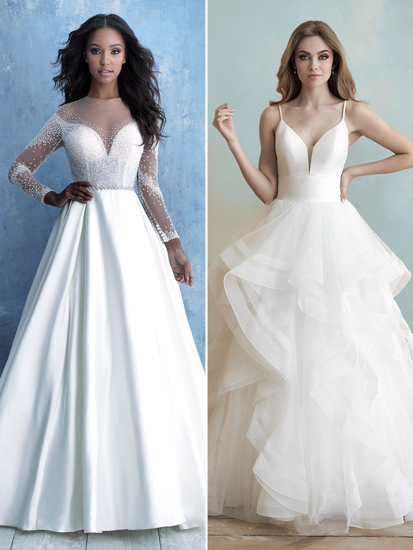 Allure Bridals sheer long sleeve wedding dress and plunging ruffled ball gown wedding dress