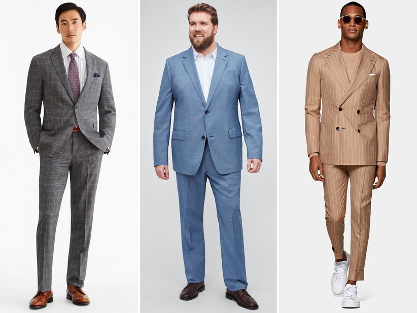 Collage of three men wearing summer wedding guest suits