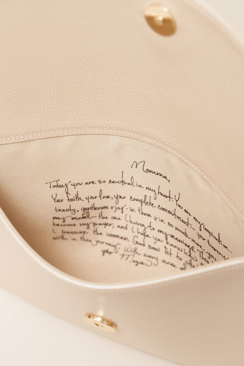 Secret message Italian leather clutch gift for mother of the bride