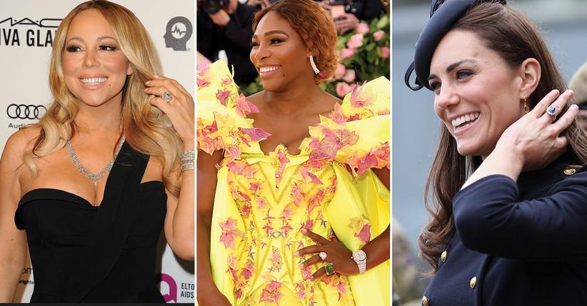 Mariah Carey's engagement ring; Serena Williams' engagement ring; Kate Middleton's engagement ring