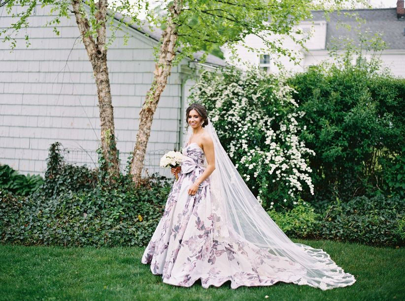 purple floral wedding dress