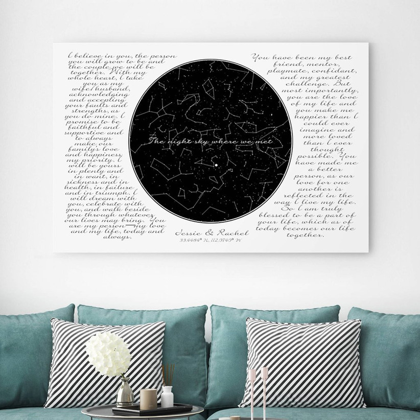 Map of the stars and vow canvas displayed above couple's sofa