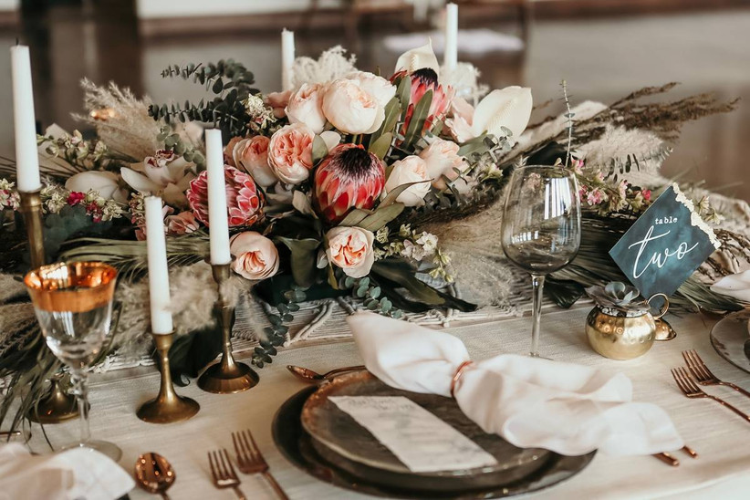 bohemian wedding reception table
