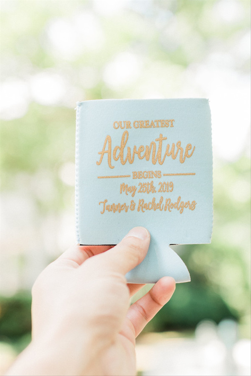 travel themed wedding favors koozies decorated with
