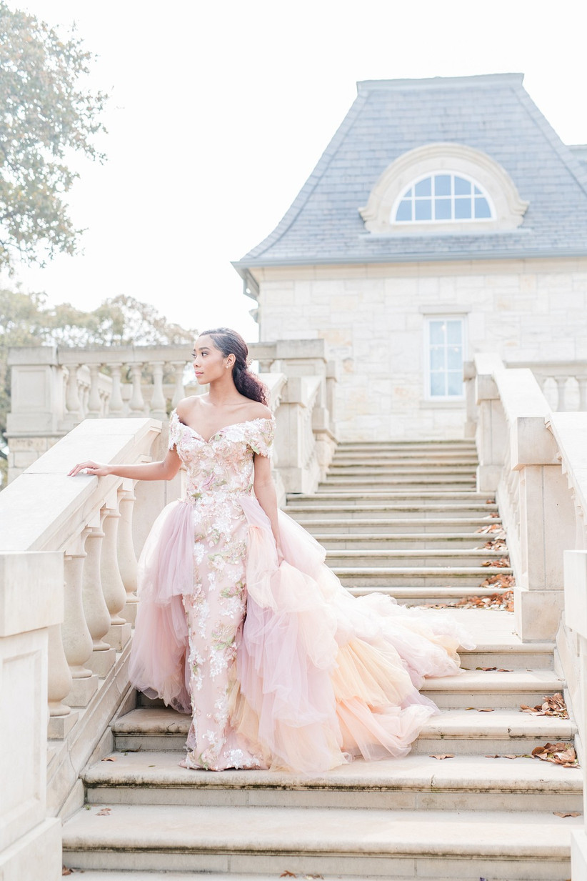 pastel pink wedding dress