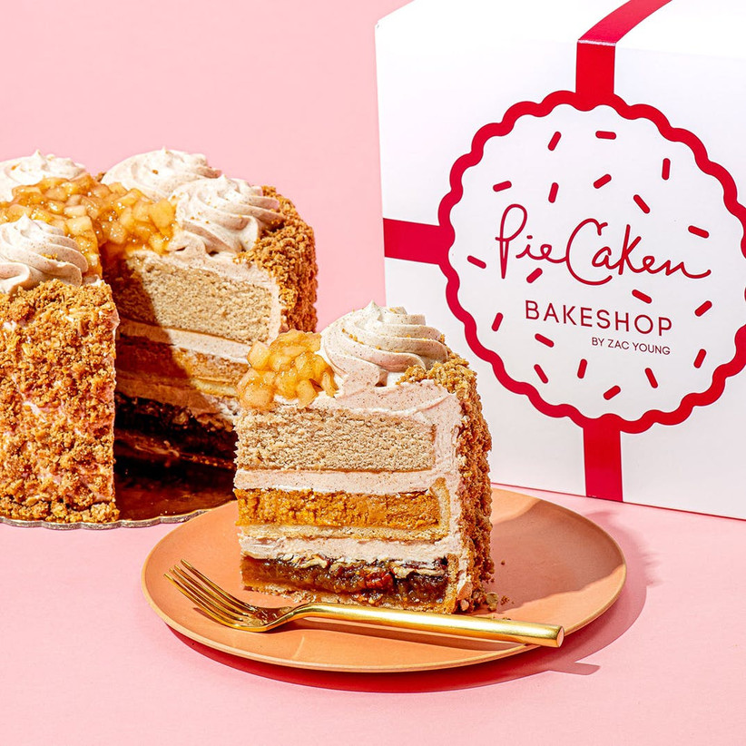 PieCaken slice on a plate with gold fork