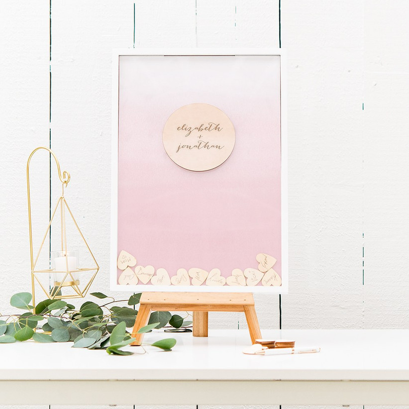 Rustic chic guest book alternative shadow box with wooden hearts