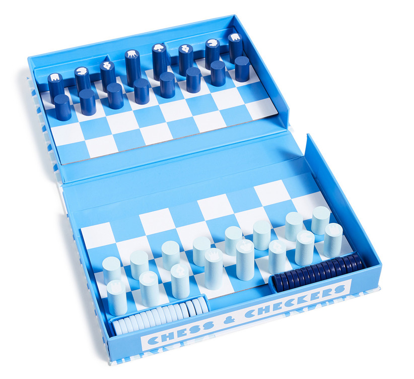Light blue and white travel chess and checkers set