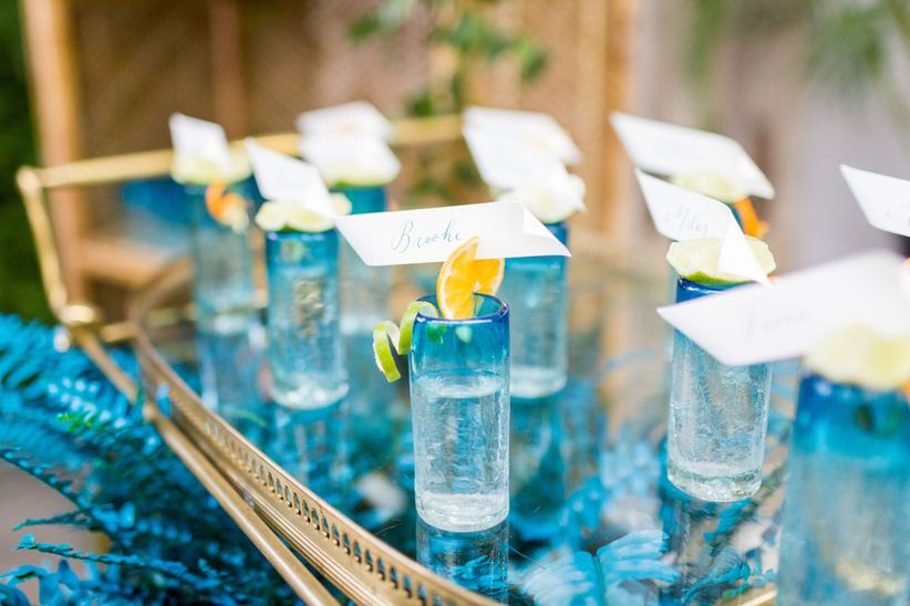 shot glasses topped with lemon wedges and paper escort cards