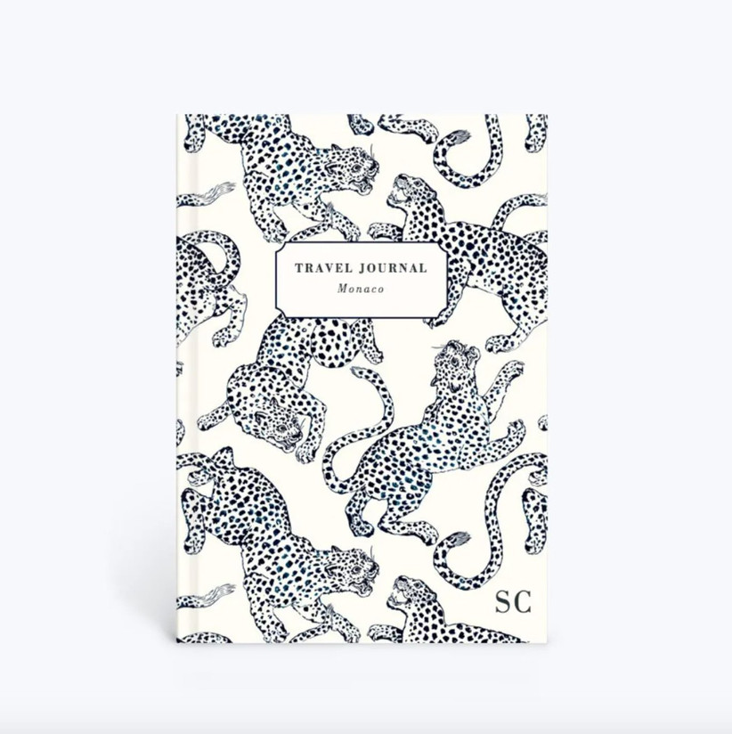 Travel journal with monogram and printed with leopard illustrations