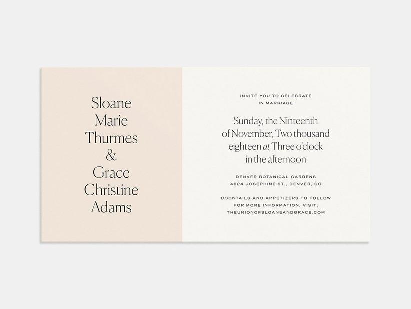 Modern colorblock affordable wedding invitation