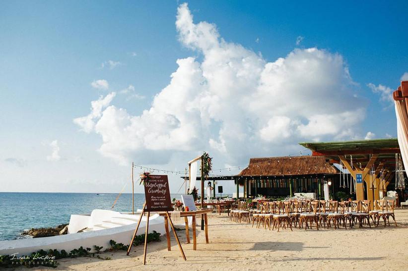 wedding ceremony on an ocean terrace overlooking the sea
